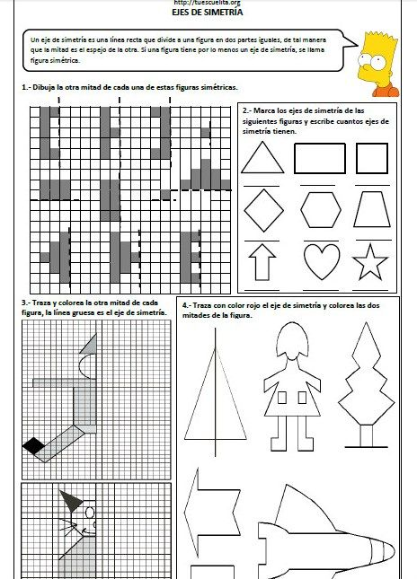 Ejercicios de ejes de simetría Primaria http://materialeducativo org/ejercicios de ejes de