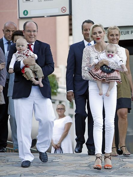 Prince Albert II and his wife Princess Charlene of Monaco arrive with their twins, Prince Jacques and Princess Gabriella, to take part in the traditional 'Pique Nique Monegasque' (Monaco's picnic) in Monaco August 28, 2015.