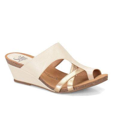 Look what I found on #zulily! Beige & Gold Rush Vivi Leather Sandal #zulilyfinds