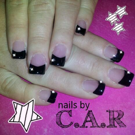 Black french tips acrylic nails