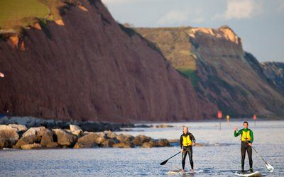 Jurassic Paddle Sports, Paddle boards and kayaks for hourly hire on Sidmouth Beach