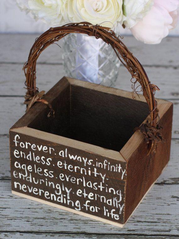 Flower Girl Basket Shabby Chic Forever Infinity Rustic Wedding Decor via Etsy