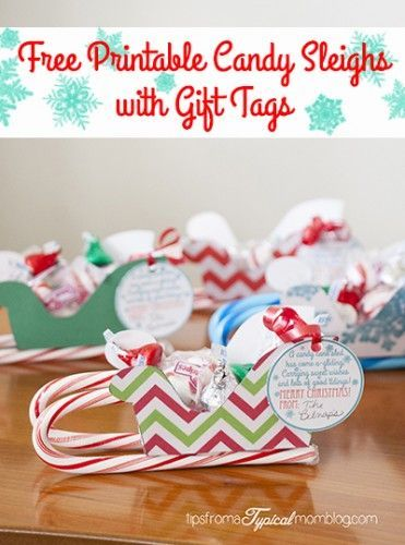 Free Printable Candy Sleighs with Gift Tags 2