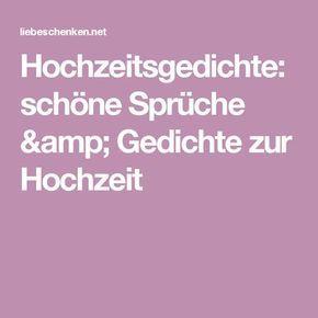 Hochzeitsgedichte: schöne Sprüche & Gedichte zur Hochzeit ...