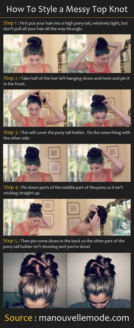 How to Style a Top Knot. This is for longer hair ladies, it is not going to look as defined nor thick with shorter hair. Well past shoulder length notice how far the ends are when put in the bun.