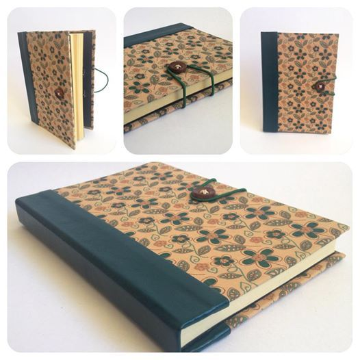 Caderno Flores Verdes Caderno com costura portuguesa em bastidor. Capa em tecido Nacional e lombada em couro ecológico verde. Fechamento com botão e elástico. Bolso interno. Miolo em papel Vergê creme 80g. 100 páginas Notebook Flowers Green notebook with Portuguese sewing. Front cover in National tissue, spine into ecological leather. Closing with button and elastic. Inside pocket . Core on creamed paper (80g) . 100 sheets.
