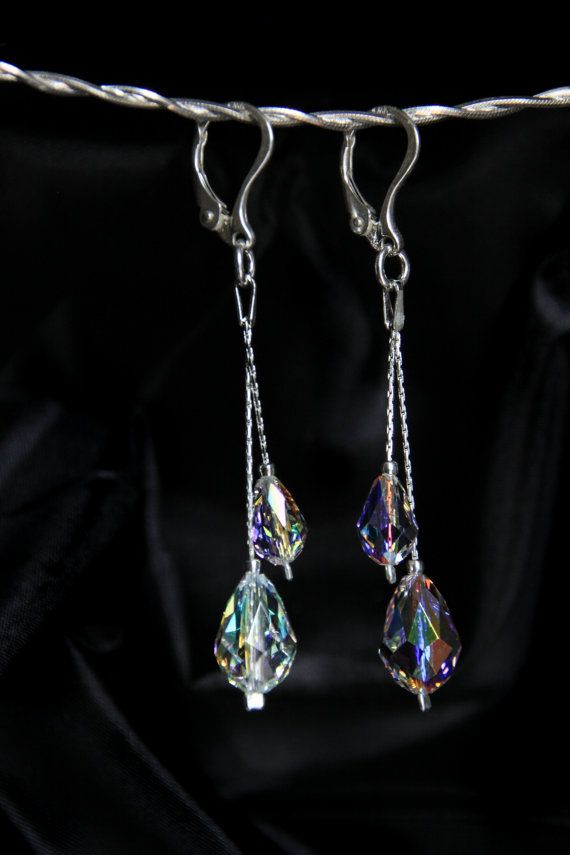 Swarovski earrings Swarovski Crystal Earrings Silver by Perlery
