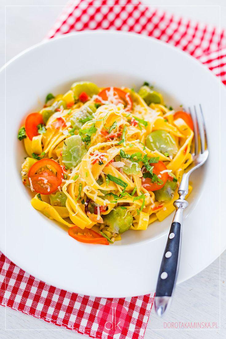 Makaron z bobem, elegancki i prosty do zrobienia, a do tego #vegetarian. Pycha! #obiad #przepis #pasta #makaron #bób