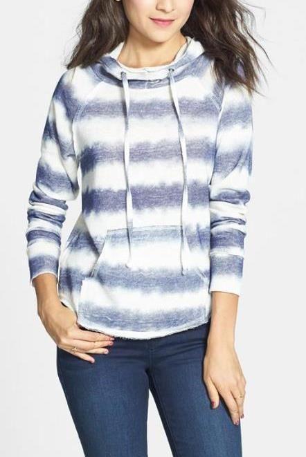 Makes cozy look cute. Blue Stripe Hoodie.