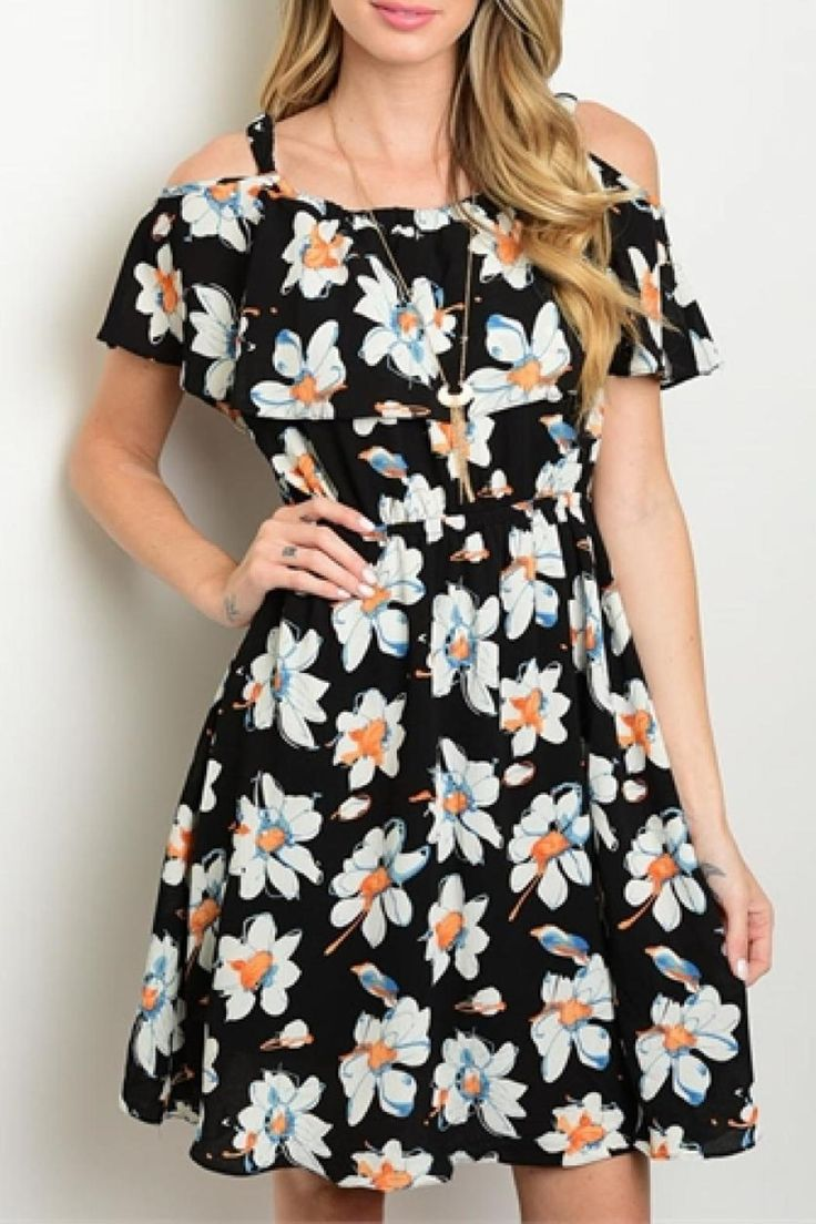Short Flowery dress with off shoulder sleeves.  Flowery Dress by La Reyna . Clothing - Dresses New Mexico