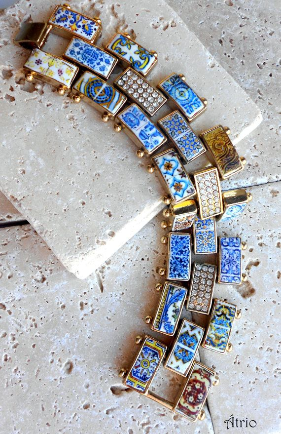 Portugal Antique Azulejo Tile Bracelet  40 Individulally by Atrio