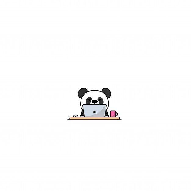 Cute Panda Working On A Laptop Premium V Premium Vector Freepik Vector Baby Computer Natur Cute Panda Wallpaper Cute Panda Cartoon Cute Panda Drawing