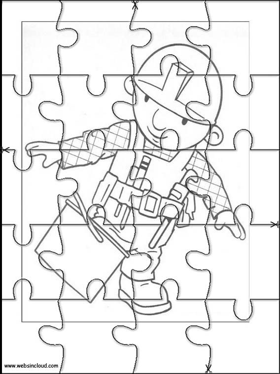 Printable jigsaw puzzles to cut out for kids Bob the Builder 5 Coloring Pages