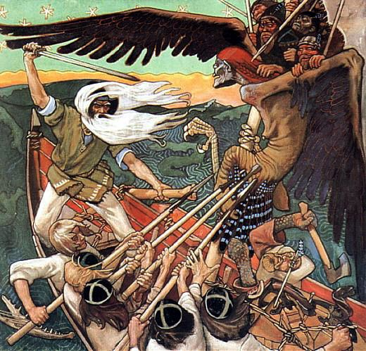 The Defense of the Sampo/Sammon puolustus,1896, Akseli Gallen-Kallela --colorfully & dramatically illustrates a story from the 43rd song of the Kalevala, the Finnish national epic. Väinämöinen, the hero, wielding a sword, has stolen the precious artifact, Sampo, from the evil witch Louhi, who has taken the form   of a giant bird.