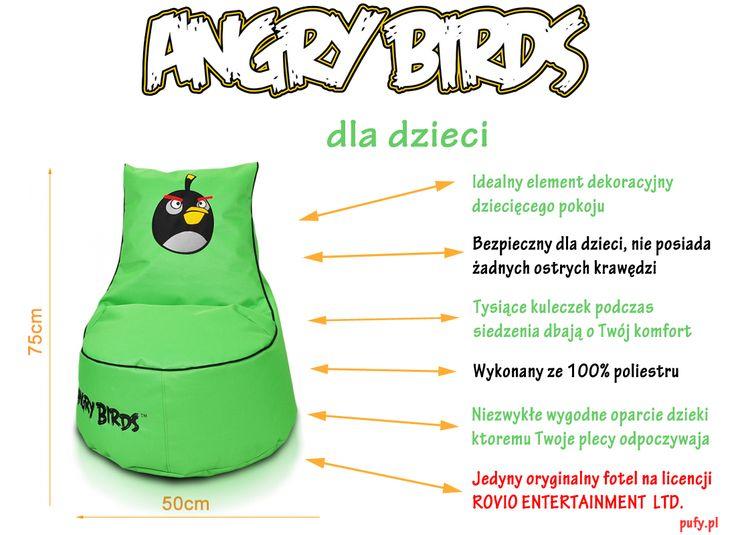 Pufa Angry Birds jest niezastąpionym towarzyszem zabaw dla dzieci inspirowany grą który każdy zna. Wiedzieliście, że mają tyle niezwykłych zalet ?:) #angrybirds #fotel #angrybirdstvseries #redbird #blackbird #yellowbird #bluebird #filmangrybirds #fotele #sako #meble #pufy #pufa #pufie #taniapufa #ekoskóra #poliester