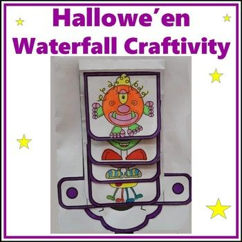 Students create a Waterfall Craftivity for Hallowe'en fun. The waterfall makes up the front page - writing activities are included on the 2 inside pages and the back cover. This craft includes graphics for boys and girls. Watch the video to see how it is made ... Waterfall Craftivity