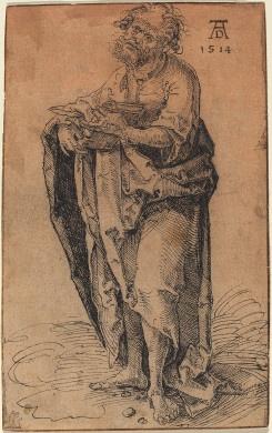 A Standing Apostle Holding a Book, c. 1510, Hans Süss von Kulmbach, Nuremberg, falsely attributed to Albrecht Dürer