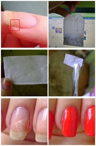 How to fix a broken nail! Take a tea-bag and empty it. Cut a small piece to fit your crack. Apply a base coat on the nail and, while it is still wet, apply the cut piece.Then, apply any nail polish you like.