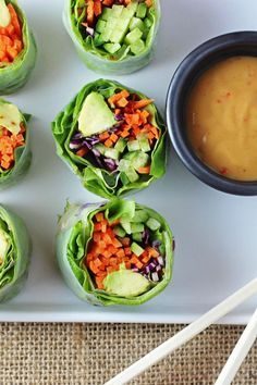 """Click here for more Purely Elizabeth recipes. """"Vegetable rolls are so beautiful and surprisingly easy once you get the hang of the first roll. Use any combination of veggies (or fruit!) to enjoy as..."""