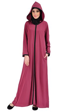 Hooded Crepe Abaya Dress - Magenta