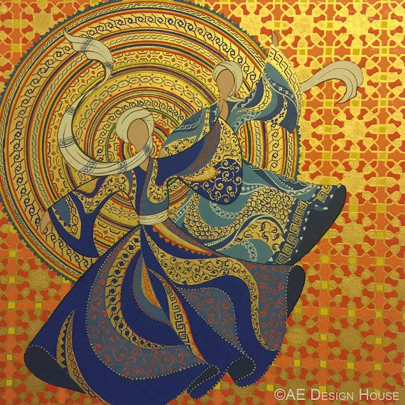 40% DISCOUNT Original Painting Whirling Dervish by AEDesignHouse
