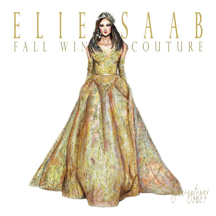 Elie Saab Fall Winter Couture illustration by swidyaningtiyas