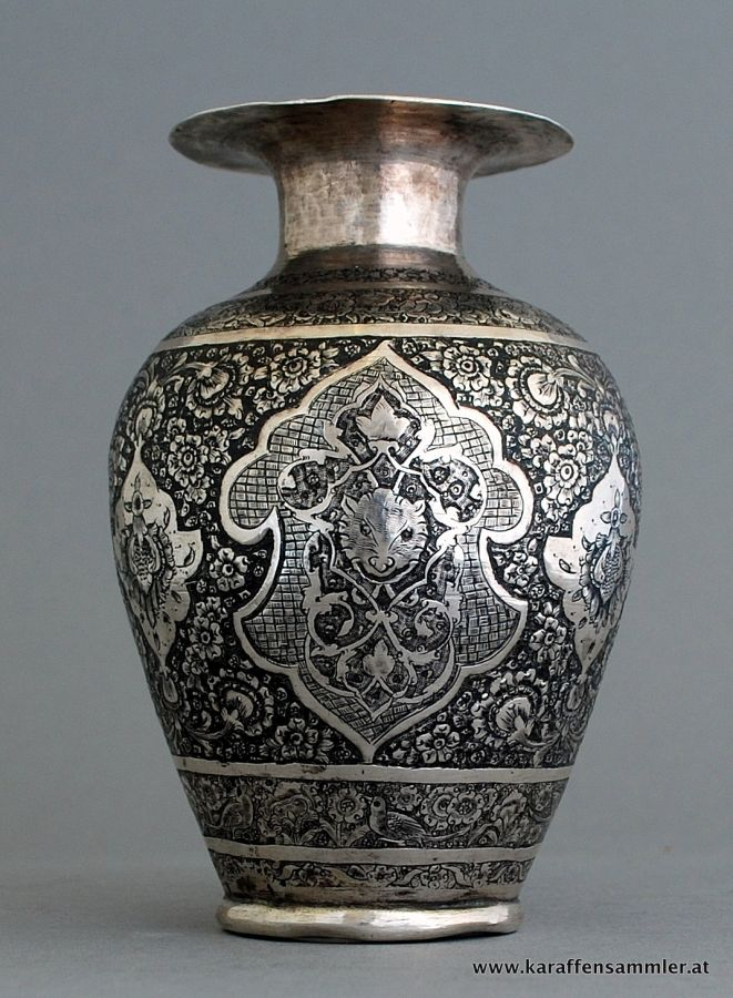 finely engraved antique qajar persian silver vase