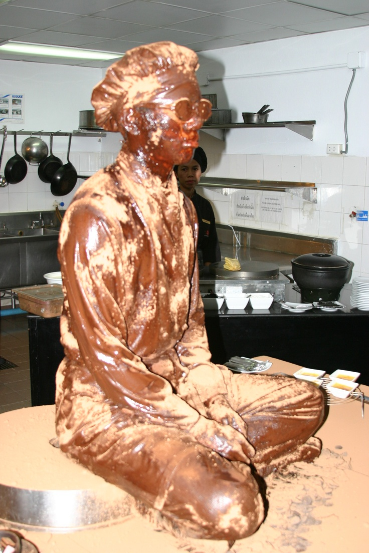 Chocolate man, yes I did actually persuade one of my chefs to do this (of course for a hefty tip), this was done for a VIP coffee bread in my pastry kitchen at the Bangkok Marriot Resort and spa. This was a huge hit, repeated many times after!!