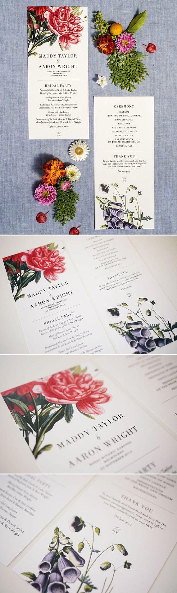 Botanical Floral Order of Service Wedding Program Printable | 3EggsDesign #design #graphicdesign #wedding