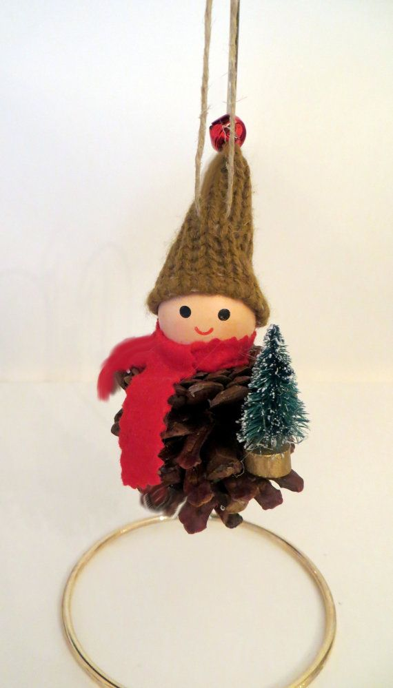 Pinecone Elf Ornament with Christmas Tree by EllensClayCreations, $9.95