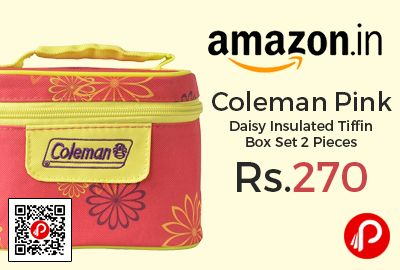 Amazon #LightningDeal is offering 70% off on Coleman Pink Daisy Insulated Tiffin Box Set 2 Pieces at Rs.270 Only. 2 plastic food containers lock on all 4 sides to keep your food secure and prevent leaks- hot or cold items can be stored, Zipper Closure: Tiffin Fully closes and zips around the top, so food and contents are secure during transportation,   http://www.paisebachaoindia.com/coleman-pink-daisy-insulated-tiffin-box-set-2-pieces-at-rs-270-only-amazon/