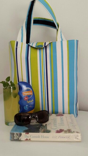 Lime / turquoise stripe Box Bag with navy lining, inner pocket and flap. Made by Vanilla Ruche