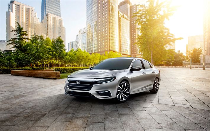 Download wallpapers Honda Insight Prototype, 4k, 2019 cars, parking, japanese cars, Honda