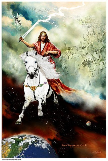 Behold He comes, riding on the clouds. Shining like the sun at the trumpet's call. Out of Zion's hill, salvation comes King of Kings - Revelation 19