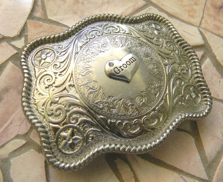 Groom Belt Buckle, Groom Wedding Gift, Bachelor Gift, Country Western Wedding,  Men's Silver Belt Buckle, Custom Bridal Party Gift by StepOriginals on Etsy https://www.etsy.com/listing/226002496/groom-belt-buckle-groom-wedding-gift