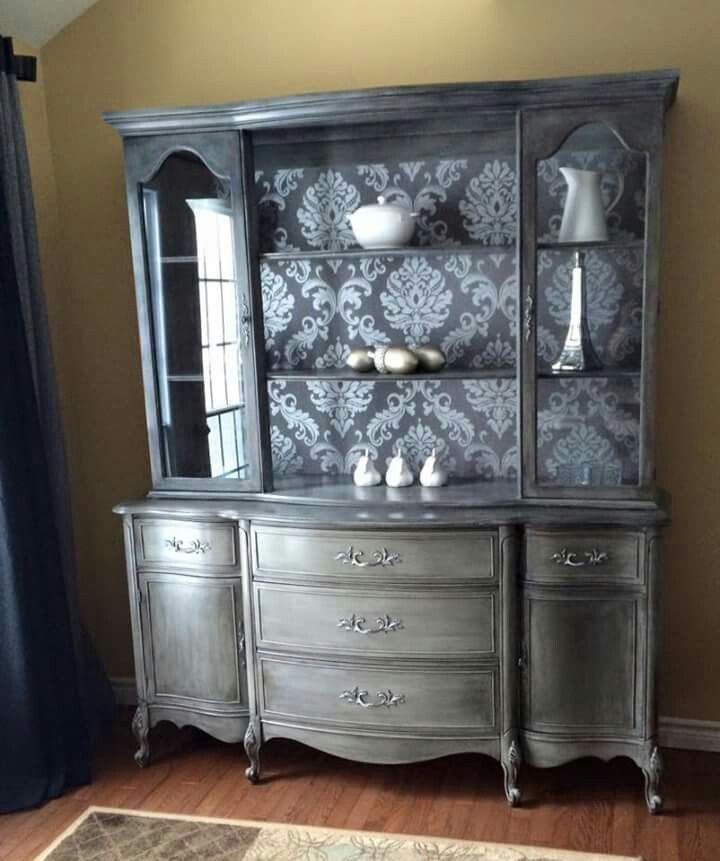 China Cabinet Black Glaze Rustolium Chalk Paint Country