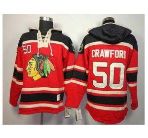 NHL jerseys chicago blackhawks #50 crawford red(pullover hooded sweatshirt) - NHL Jerseys