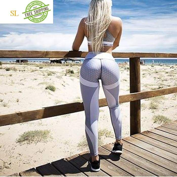 e07addeb0b Mesh Pattern Print Leggings fitness Leggings For Women Sporting Workout  Leggins Elastic Slim Black White Pants