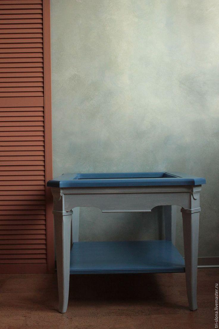 """Купить Журнальный столик """"Зимний"""" (реставрация, перекраска) - синий, журнальный стол, перекраска мебели"""