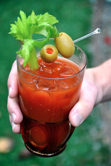 *Bloody Mary's for a Crowd*  Ingredients:  46 oz. V8 vegetable juice   1/3 cup freshly squeezed lemon juice   3 dashes hot sauce   ¼ cup Worcestershire sauce   1 teaspoon prepared horseradish   2 Tablespoons sugar   ¾ teaspoon salt   ¾ teaspoon black pepper   2 cups vodka   ice, for serving   celery stalks, for garnish   pimento-stuffed olives, for garnish