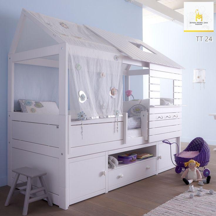 Tempat Tidur Anak Rumah Kayu Unik Putih Terbaru