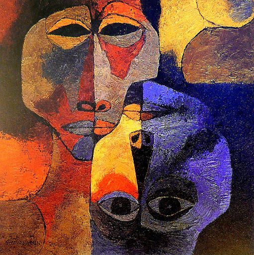 The Lovers, 1989, by Oswaldo Guayasamin, an Ecuadorian painter and sculptor (1919–1999), who was recognized as a humanitarian