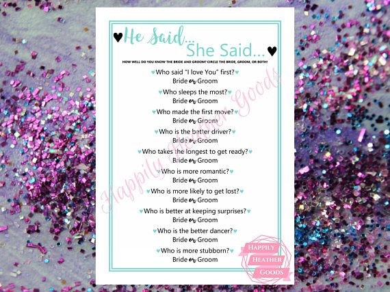TITLE: he said, she said / how well do you know the bride and groom DESCRIPTION: printable game for a bridal shower in robin egg blue with a cursive font; one game per page; this template is also perfect for teal bridal shower games and turquoise bridal shower games  Your download