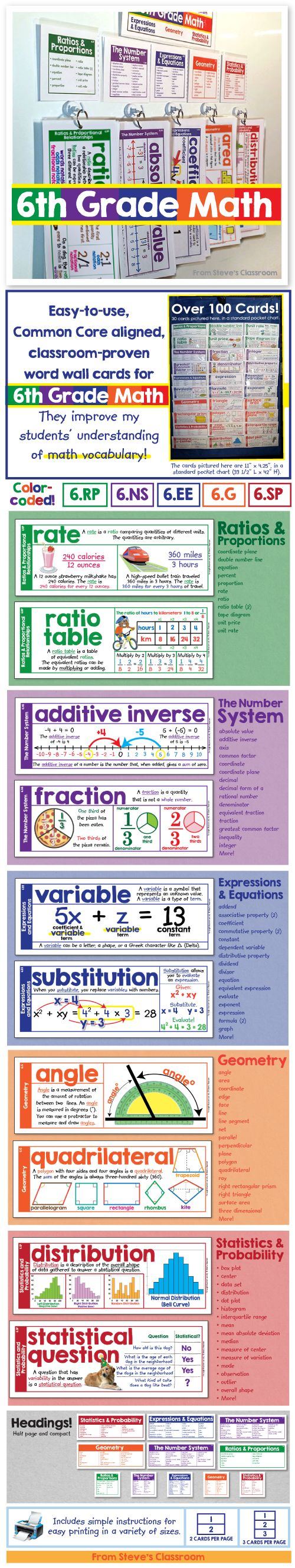 Word wallI cards for sixth grade math! Over one hundred terms for sixth grade math, all in one compact space on my classroom wall. The definitions, examples, and illustrations help students understand sixth grade math vocabulary. As an added value, the cards can be printed three per page, black and white, making them perfect for pasting into an interactive notebook.