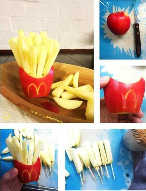 fiestas infantiles cocinar con niños patatas de manzana Patatas fritas estilo McDonals de manzana