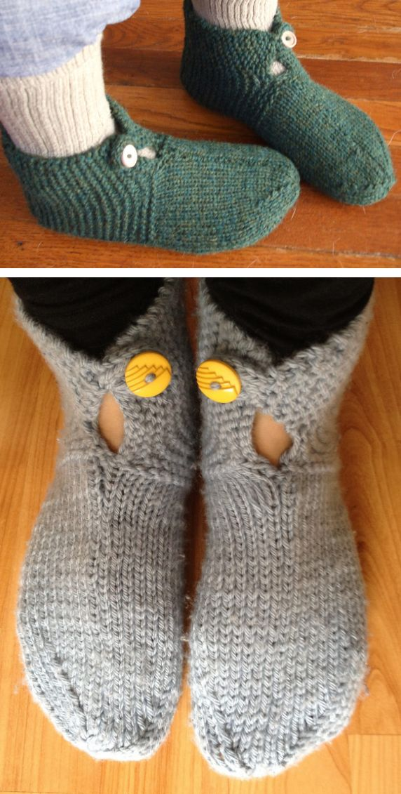 Free Knitting Pattern for Mystery Slippers - These easy slippers feature a buttoned cuff and are knit flat and then seamed. Rated very easy by most Ravelrers. Designed by Terry Morris. Pictured projects by ekardk and ilanah