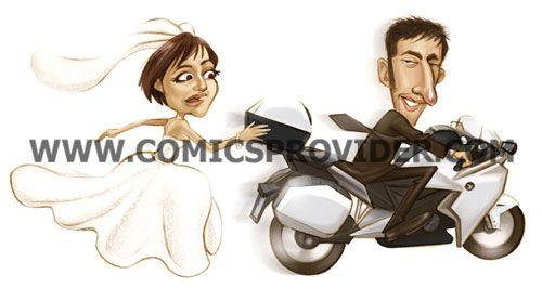 Caricatura in stile light, sposa insegnue lo sposo che sfreccia in moto!!