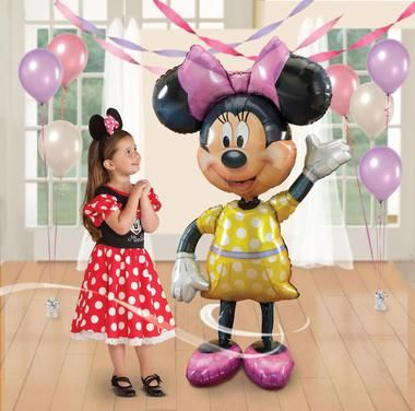 "Your Birthday Girl and her Guests will scream with laughter when they see the Minnie Mouse Airwalker Jumbo Foil Balloon standing in the room! The Minnie Mouse Airwalker 54"""" Jumbo Foil Balloon measure"