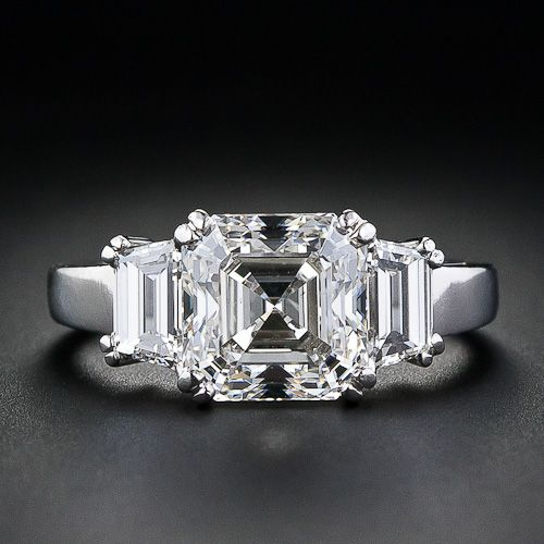 3.20 carat, G color, VS2 clarity, asscher cut diamond engagement ring