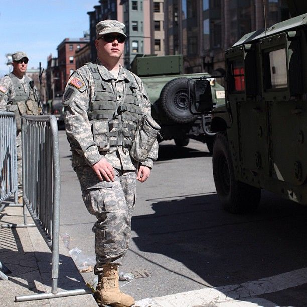 The National Guard showed a heavy security presence on the streets of Boston the day after the Boston marathon bombing in Boston, Massachusetts on April 16, 2013. (Photo: Charlie Mahoney / Prime for NBC News) #Boston #BostonMarathon